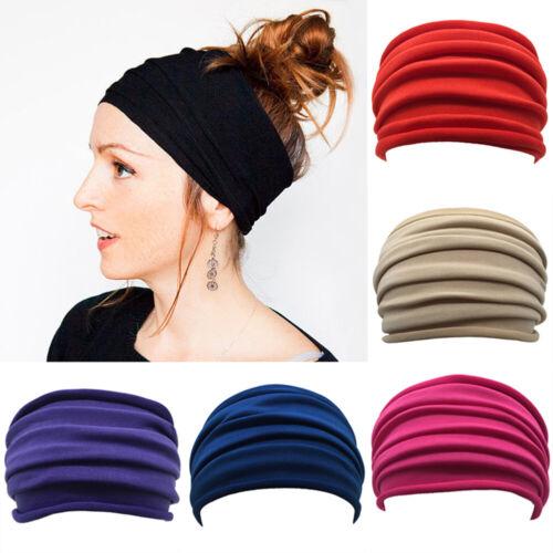 Women Yoga Sports Wide Headband Elastic Boho Hair Band Head Wrap Wristband NEW