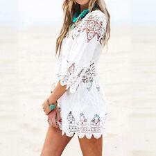 Damen Baumwollspitze Hohl Bikini Häkeln Strand Aufdecken Tunika Kleid Weiß