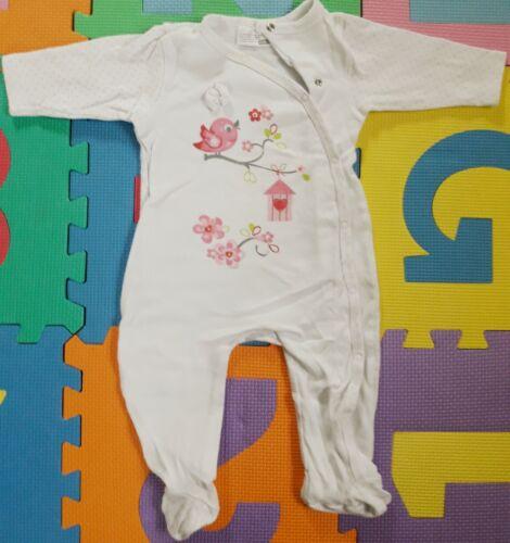 """Baby Schlafanzug Gr.68 /""""Ergee/"""" weiß mit Vögelchen"""