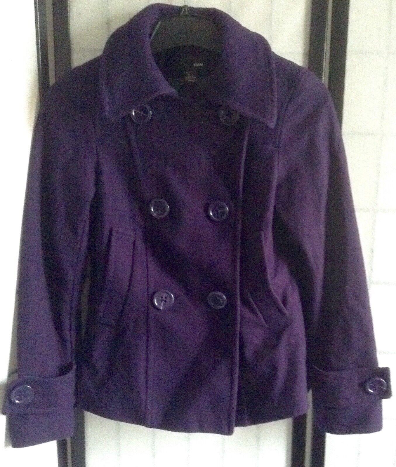 H&M Women's 6 Purple Double Breasted Wool Swing Pea Coat