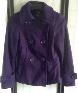 Details About H M Women S 6 Purple Double Breasted Wool Swing Pea Coat