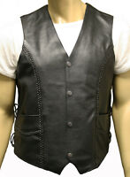 Mens Real LEATHER Black LACE SIDED MOTORCYCLE Biker WAISTCOAT BRAIDED Vest