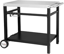 Rolling Table Cart Double Shelf Movable Multifunctional Stainless Steel Flat Top