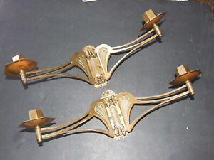 Pair-of-Antique-Art-Nouveau-Brass-Ornate-Double-Piano-Candle-Sconces-1890-039-s