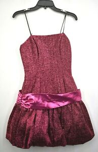 VTG Nadine Womens Pink Spaghetti Strap Shimmery Bow Back Balloon Mini Dress 7/8