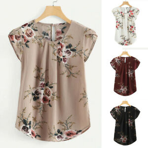 Women-Round-Neck-Floral-Pleated-Basic-Tops-Casual-Short-Sleeve-Shirt-Blouse-Tee