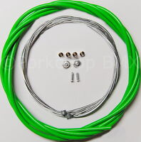 Bicycle 5mm LINED brake cable housing and hardware kit BMX MTB VINTAGE - GREEN