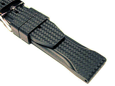 Strapped For Time Carbon Fiber Print Italian Rubber Watch Band
