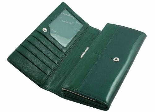 grün PIERRE CARDIN Lackleder Geldbörse Portemonnaie Leder Damenbörse wallet