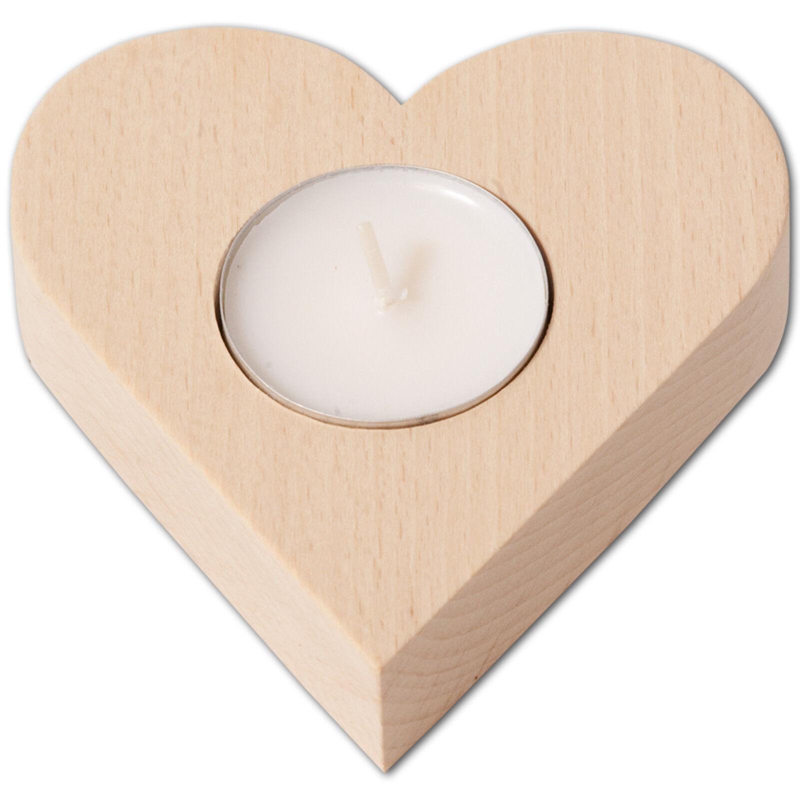 Teelichthalter Kerzenständer Kerzenhalter herzform - 10 x 9 cm Buche - ab