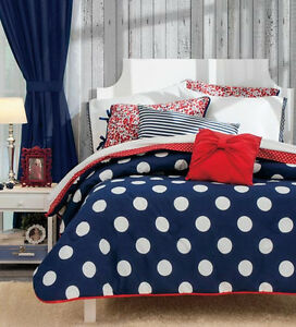 About new sailor blue white polka dots red comforter bedding set