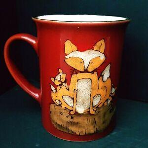Red-Pfaltzgraff-Everyday-Coffee-Mug-Fox-Family-Kits-Extra-Large-Gift-Idea
