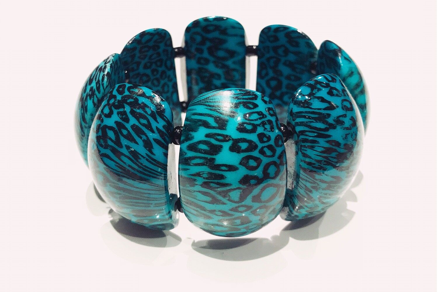 VINTAGE JEWELRY - 1980s Retro Patterned Turquoise… - image 3