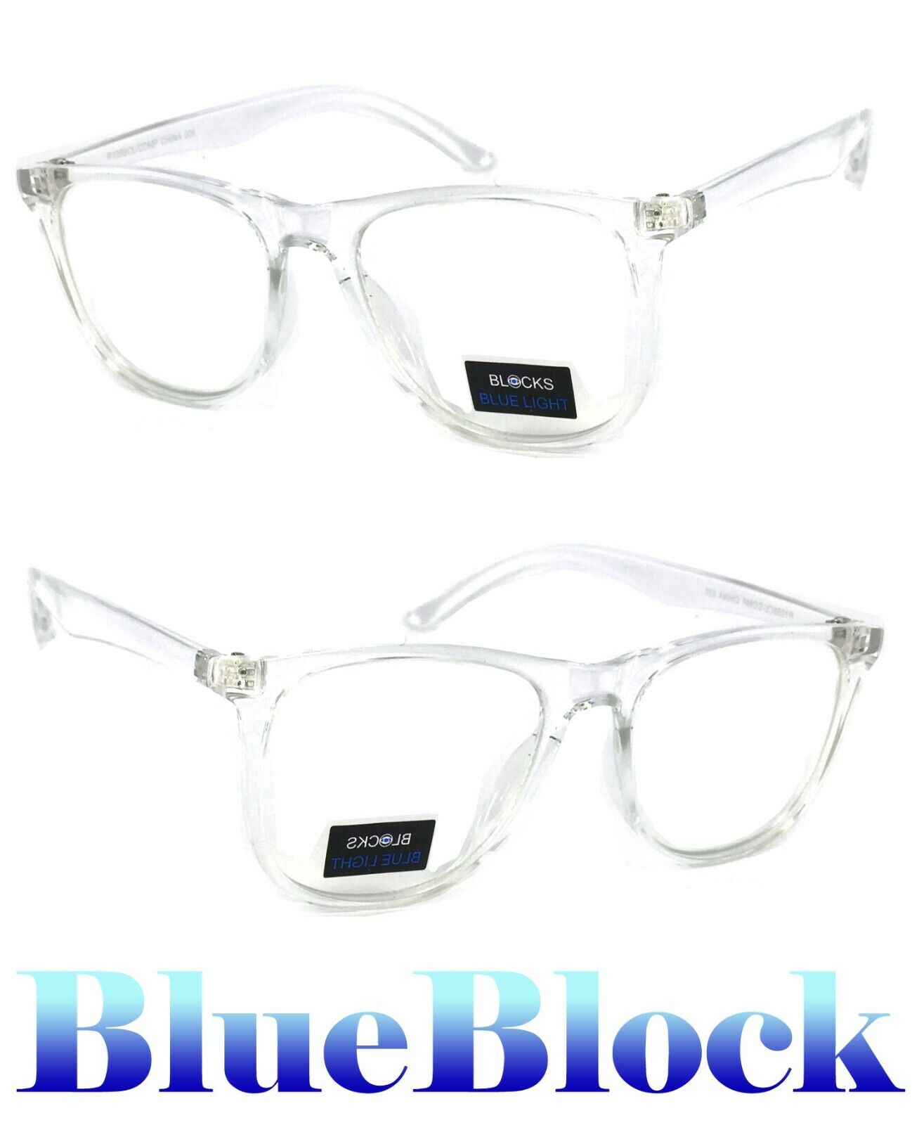 1 or 2 Pairs Blue Light Blocking Glasses Computer Gaming Vision Care Protection