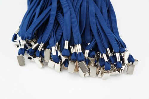 Bulk Lot 50 New Basic Blue Lanyard w// Clip ID Visitor Pass Badge Ticket Holders