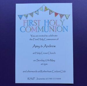 Image is loading 10-Personalised-First-1st-Holy-Communion-Invitations-Thank-