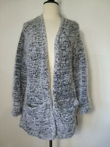 Divided-Black-White-Fluffy-Acrylic-Open-Front-Long-Hem-Cardigan-Sweater-Size-Med