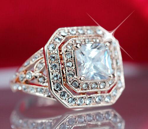 18K ROSE GOLD GF VICTORIAN VINTAGE SQUARE WOMENS ENGAGEMENT WEDDING CRYSTAL RING