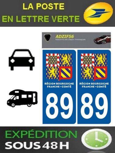 2 AUTOCOLLANT PLAQUE IMMATRICULATION DEPARTEMENT 89 LOGO BOURGOGNE FRANCHE COMTE
