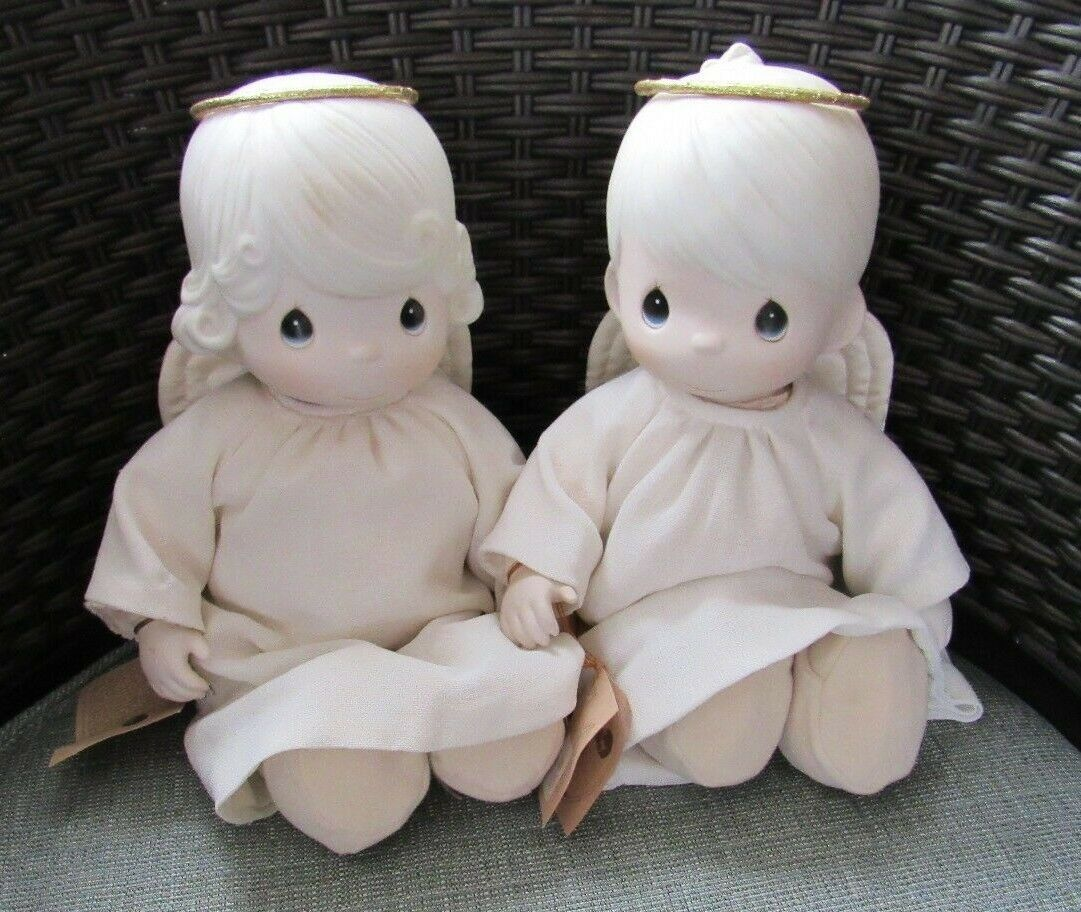 Precious Moments set of Girl and Boy Christmas Angels Dolls