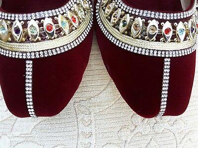 Señoras Borgoña Terciopelo Indio Boda Fiesta Zapatos Talla 10