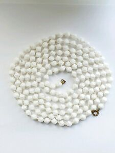 """60"""" Art Deco White Shaped Glass Beads Necklace Flapper length *225"""