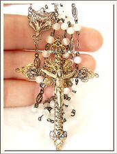 COLONIAL 1890's MOP COLOR BEADS & SILVER FILIGREE ROSARY !!! VISIT MY STORE !!!