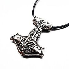 Vintage Silver Norse Viking Amulet PENDANT Raven Thor's Hammer Necklace Pendant
