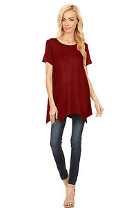 Women-039-s-Short-Sleeve-Handkerchief-Hem-Tunic-Top-Loose-Fit-Tunic-Reg-amp-Plus-Size