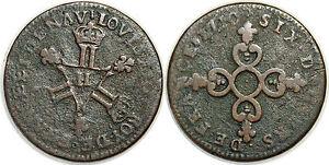 LOUIS-XIV-SIX-DENIERS-DITS-034-DARDENNE-034-1710-H-G-85-LA-ROCHELLE