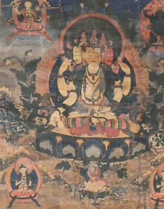 Antiker Thangka, Tibet 18. Jhdt., Erleuchtungspotenzierung, 60 x 45 cm