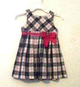 Little-Girls-Plaid-Black-amp-Pink-Dress-Size-3T-EUC