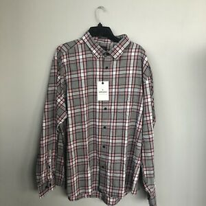 UNTUCKIt-3XL-rousseau-long-sleeve-shirt-plaid-check-gray-white-pink-New