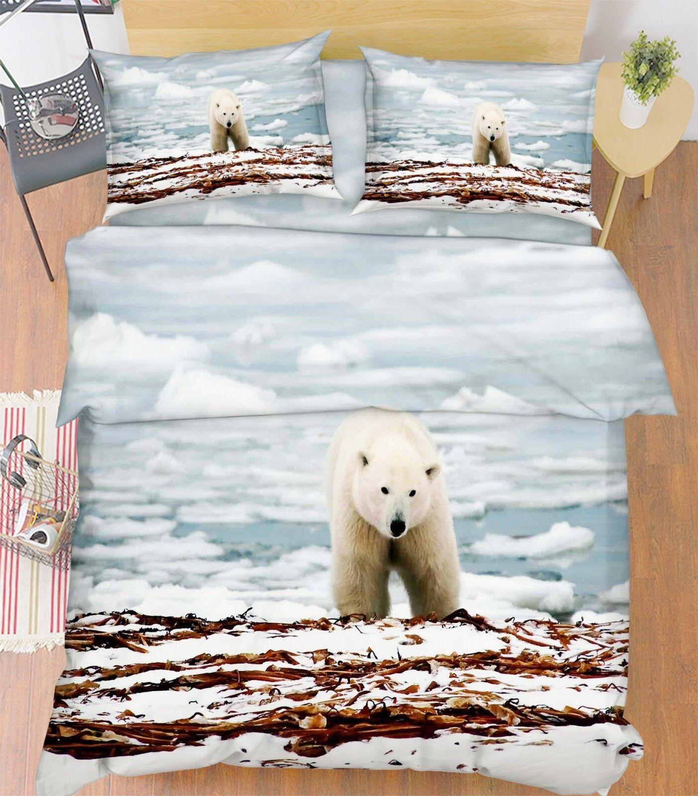 3D Glacier Bear 676 Bed Pillowcases Quilt Duvet Cover Set Single King UK Lemon