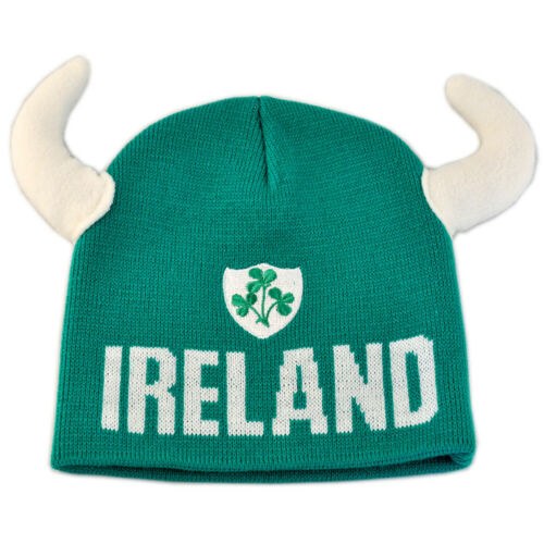 Beanie Hat With Viking Horns And Ireland Crest Green Colour