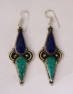 Asian-Ethnic-Unique-sterling-silver-earrings-design-tribal-tops-turquoise-ER26