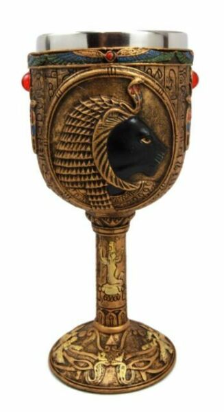 "6.75/""h Egift Ancient Egyptian Goddess Hathor Resin 6oz Wine Goblet Chalice Cup"