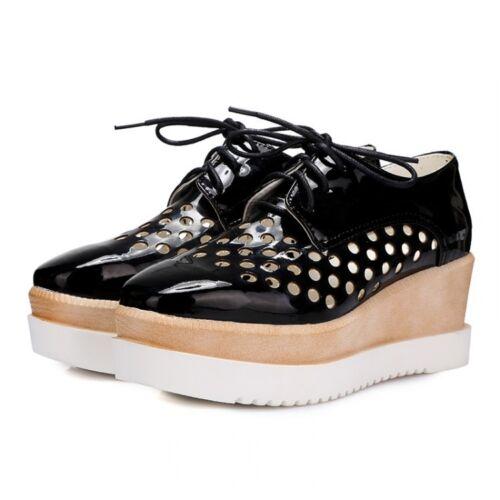 Gothique Femmes Chic Lacets Compensées Plateforme Creepers Richelieu à Derbies Hollow Out Shoes