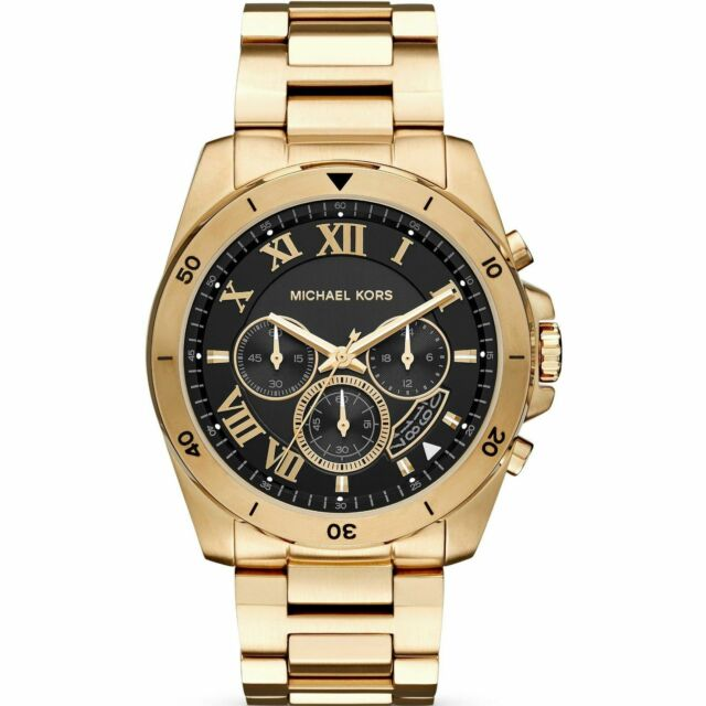 d5bfdd6194a7 Michael Kors Brecken MK8481 Gold Tone Brecken Black Dial Chronograph Men s  Watch