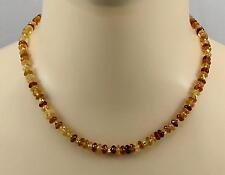 Hessonitkette - Hessonit-Granat Halskette Zimtstein gelb braun für Damen 45,5 cm
