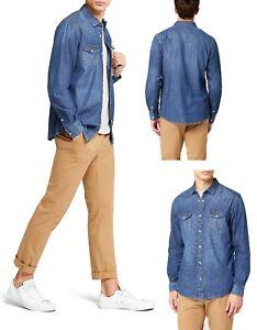 Men-039-s-Wrangler-Denim-Shirt-Casual-Long-Sleeve-Vintage-Western-Jacket
