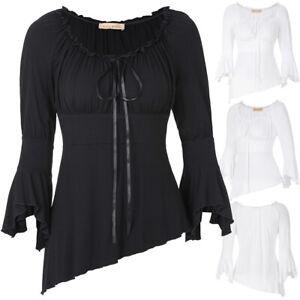 Retro-Steampunk-Gothic-Women-039-s-Victorian-Off-Shoulder-Flare-Sleeve-Shirt-Tops