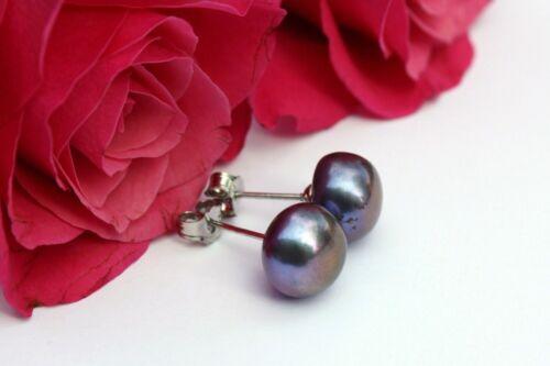 9mm 7-Farbe Zucht Süßwasser Perlen Schmuck Set Ohrringe Ohrstecker  925 Silber