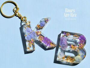 Any Letter Flower Resin Keychain Handmade In UK