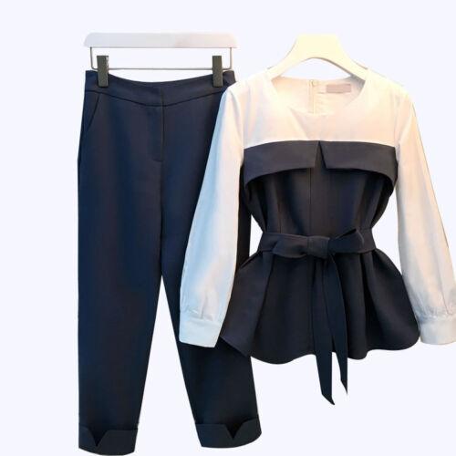 Plus casual Primavera Pantaloni Sz Manica Abito Taglie Navy Blu 2 lunga Nuovo Donna's Pcs UUrAB