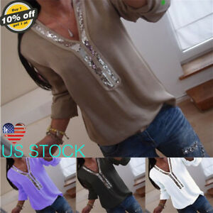 Womens-Sequin-V-Neck-Long-Sleeve-Tops-Ladies-Casual-Club-T-Shirt-Blouse-Pullover