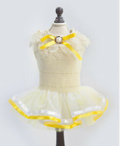 Dog-Puppy-Dress-For-Smaller-Breeds-Sunny-Yellow-with-Embroidery-16-17-034-Chest