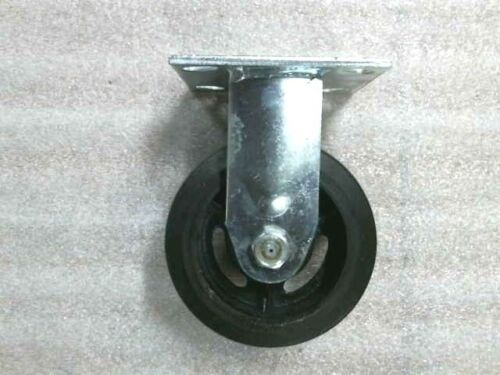 "5/"" x 2/"" Rubber Iron Plate Casters 2 Swivel w//Brake 2 Rigid 4/""x 4-1//2/"" Plate"