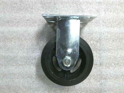 "5/"" x 2/"" Rubber Iron Plate Casters 2 Swivel w//Brake 2 Rigid 4/""x 4-1//2/"" Plate"