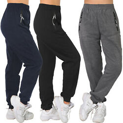 Thermo Jogging Hose Trainingshose Sporthose Reißverschluss Fitness Taschen lang